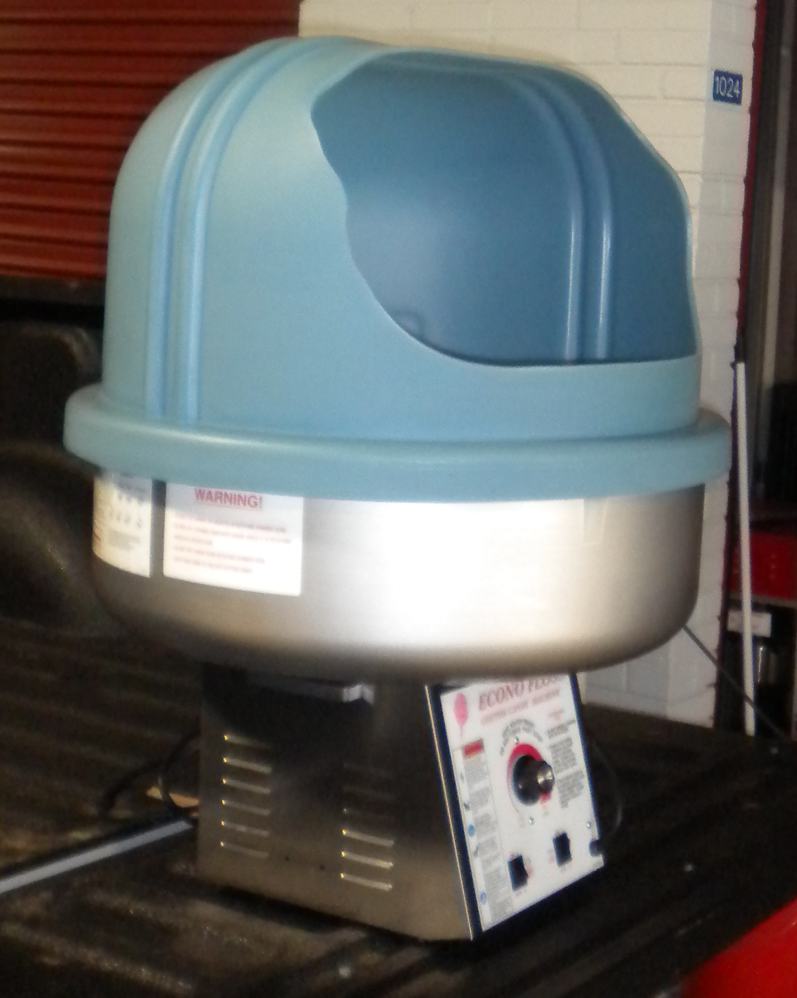 Blue Cotton Candy Machine Left View